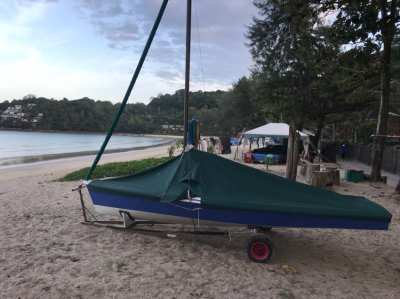 Tasar one design 14 foot sailing dinghy with beach and road trailers.