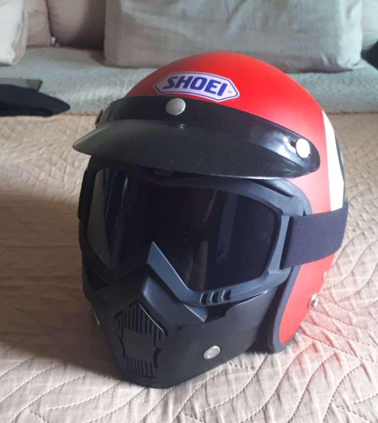 Motor bike helmet c/w face mask / goggles