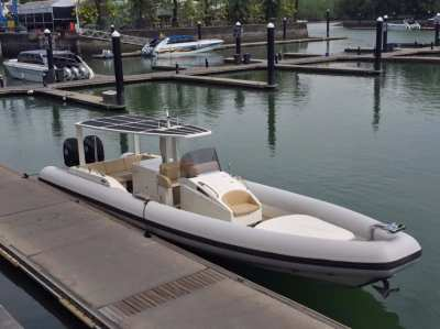 Twin Mercury Verado 4 stroke outboards,