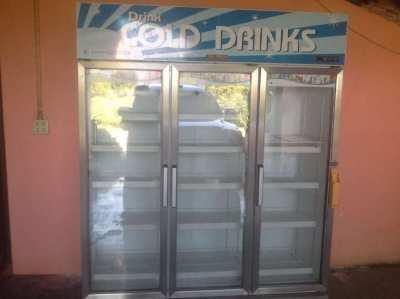 beverage refrigerator 3 doors 2 year old used half year