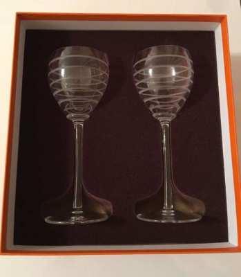 HERMES. French Crystal Burgundy Fanfare wine glasses - Unique