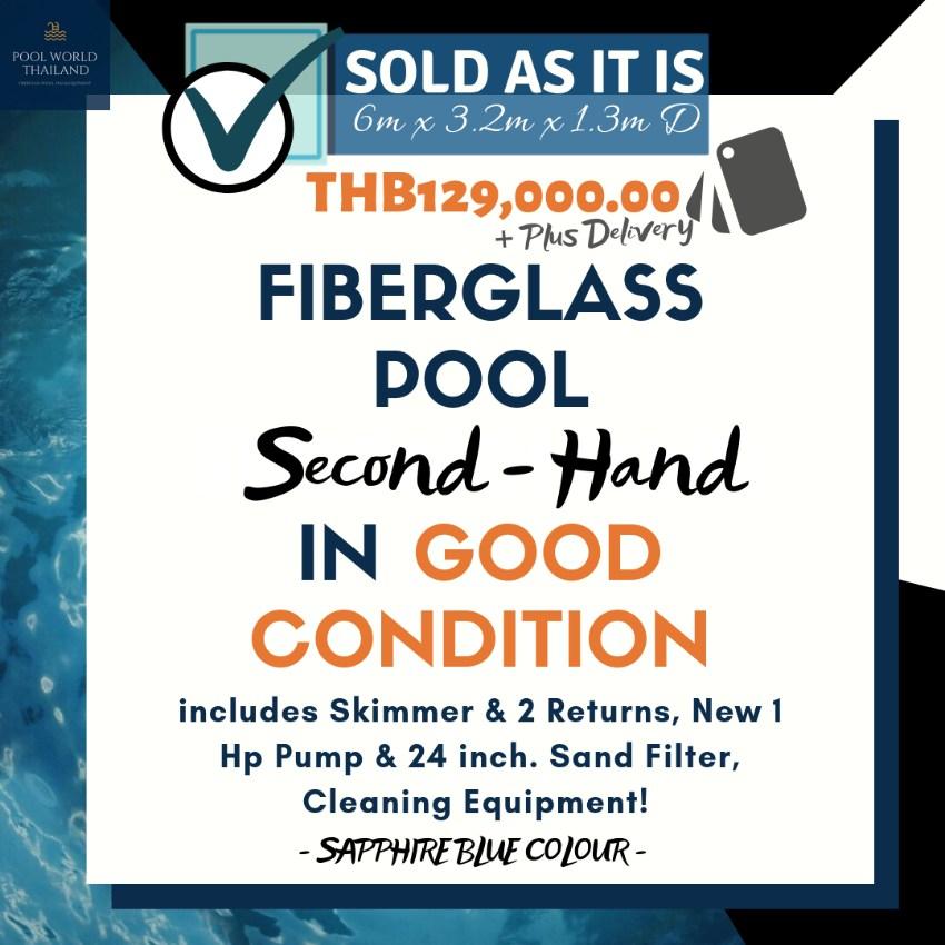 In Good Condition - 6m Fiberglass Pool Second Hand -  PLUS more!