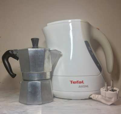 BRAND NEW TEFAL KETTLE AND USED BIALETTE KETTLE FOR SALE