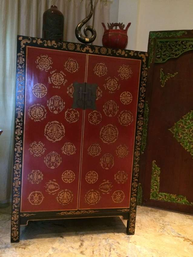 Chinese antique red cabinet.