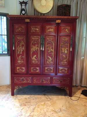 Chinese antique wood carving cabinet