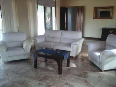 large 3 piece genuine leather sofa & other furniture