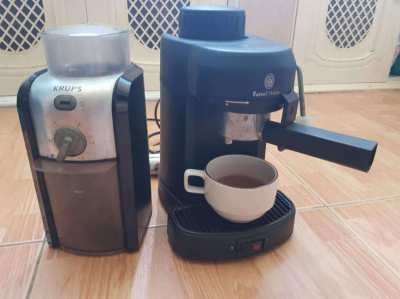 Russell Hobbs Coffee Machine 850W and Krups Mill