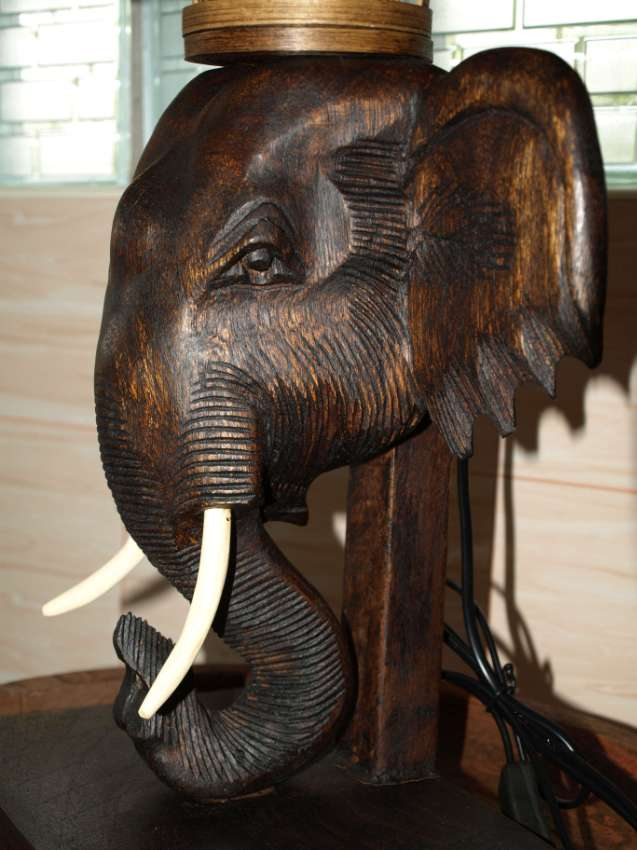 Large Hand Carved Elephant Head Table Lamp Thai Craft.
