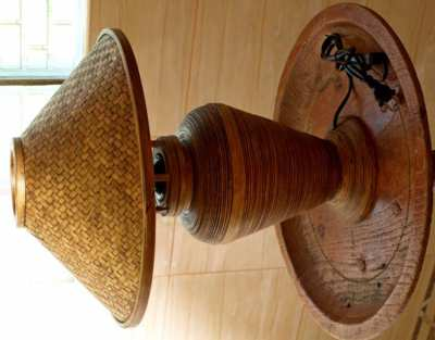 Hand Made Thai Table Lamp In Bamboo.