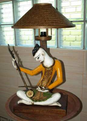 Traditional Thai Wood Folk Art Musician Figure Carved Table Lamp.