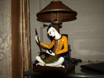 Traditional Thai Wood Folk Art Musician Figure Carved Table Lamp.