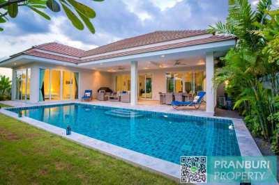 Modern 4 bed pool villa: corner plot, complete estate, barely lived in