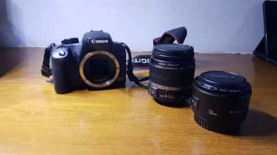 Canon EOS 1000D, 2 lens (18-55mm, 50mm), with bag as gift