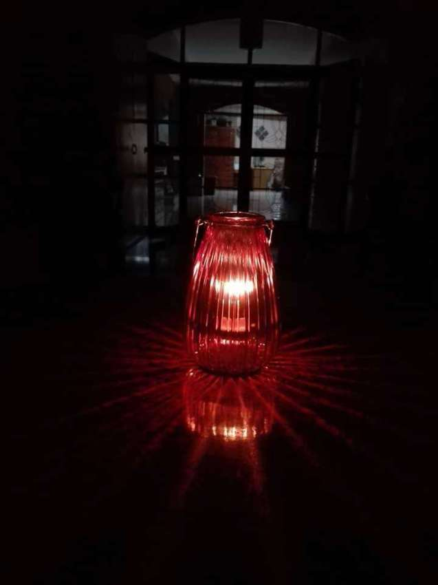 Vintage glass candle lamp