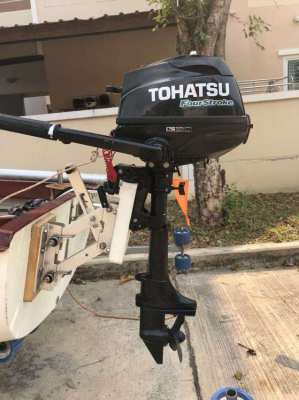 TOHATSU 2-5 HP 4 STROKE OUTBOARD, AND BRACKET 1 HRS USE