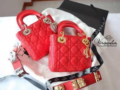 Lady Dior Genuine Sheep Leather Handbag Size 8 Sweet B model
