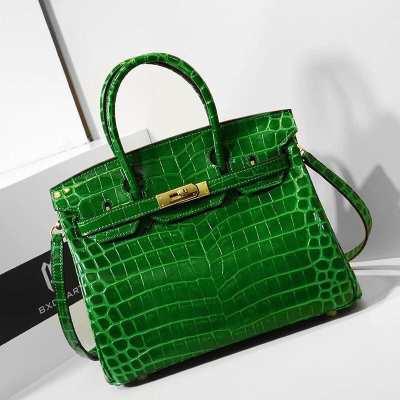 ✅ Instock ✅ Genuine Leather Handbag [Green Prong Sap ????] Hi-end work with crocodile print Herme shape