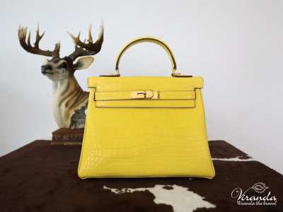 ✅ Ready to ship ✅ Genuine cow leather handbags, Hi-end work. Alligator Print Hermes Kelly Size 28 ????