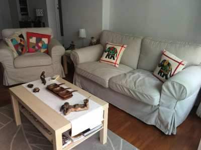 Ikea two seat sofa and 2 armchairs with coffeetable