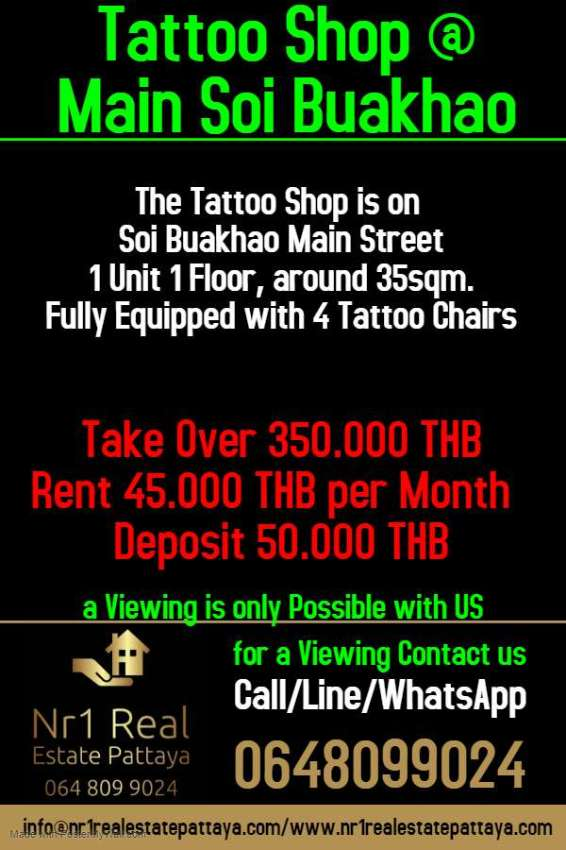 Tattoo Sops Offer In Central Pattaya
