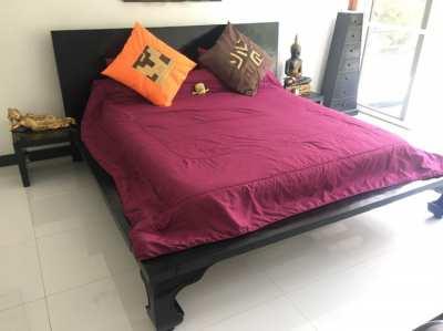 Balinese King size teak wood bed and drawer set