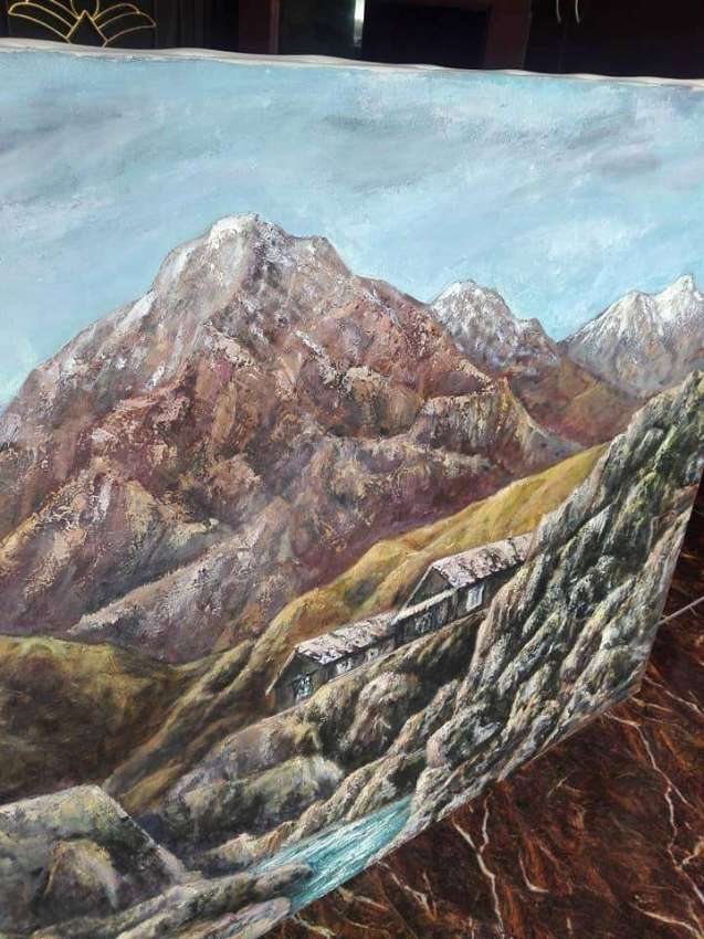 SOLD!!! Homes in mountain oil on canvas