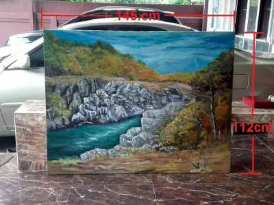 SOLD!!! River in hills oil on canvas