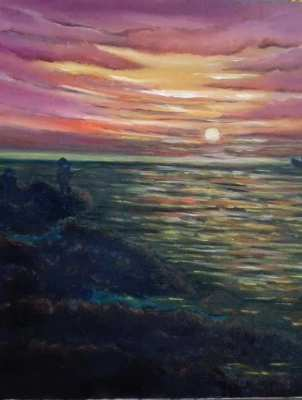 SOLD!!! Sunrise on sea oil on canvas
