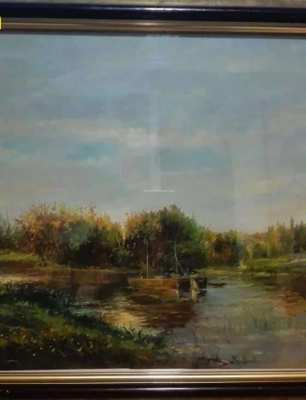 SOLD!!! Autumn on river oil paint