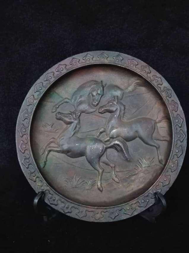 SOLD!!! Vintage brass running horses plate