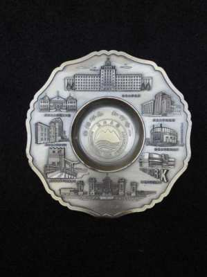 Brass famous places of Japan plate