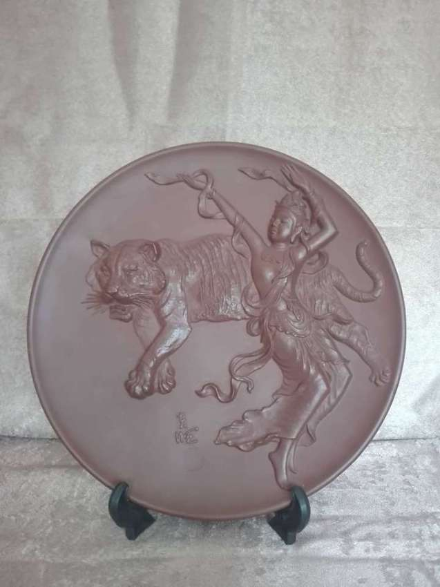 SOLD!!! Brass dancing girl with tiger plate