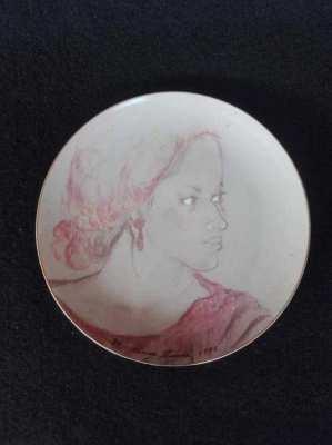 Vintage ceramic women plate