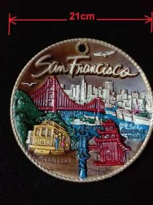 Vintage clay San Francisco famous places plate