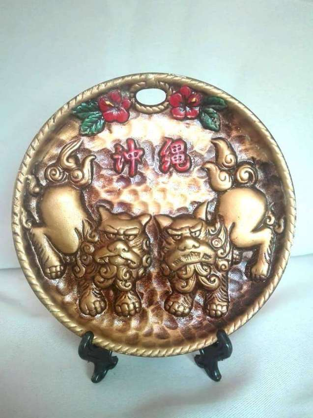 Vintage clay protect lions plate