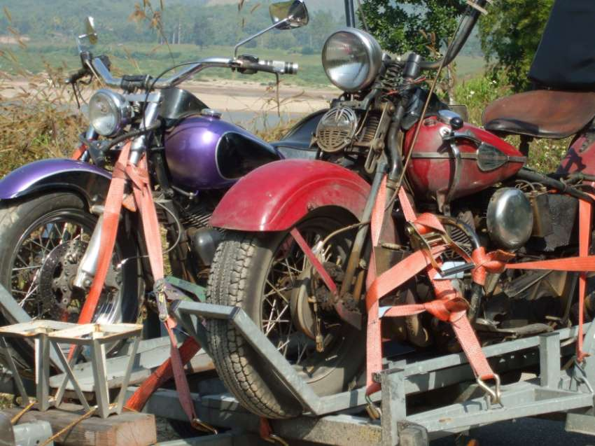 Motor trailer for two big motor bikes