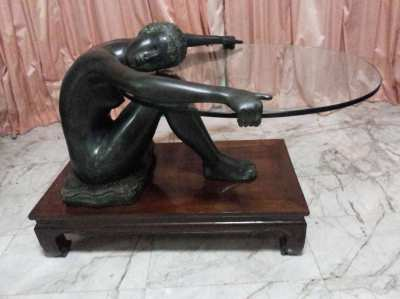 CAST METAL STATUE OF ASIAN GIRL BEARING GLASS TABLE