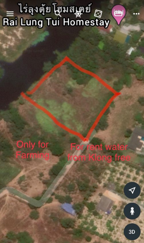Farming Land for rent on the klong