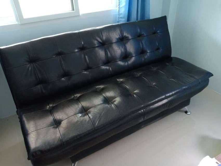 Black foldable fauxleather sofa