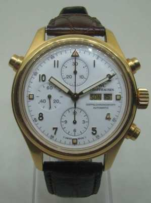 "IWC ""Doppelchronograph"" in 18 K Yellow Gold like Rolex"