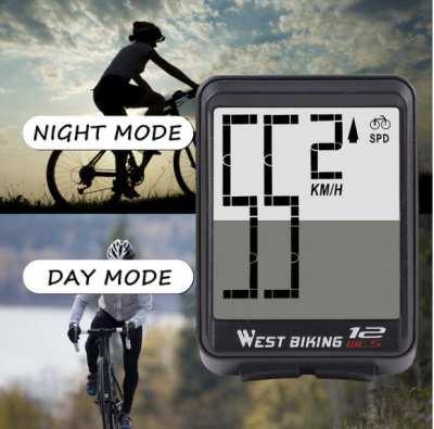 Wireless Bike Computer, Waterproof, Backlight, Big Numbers