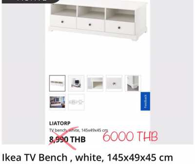 Ikea TV Bench , white, 145x49x45 cm