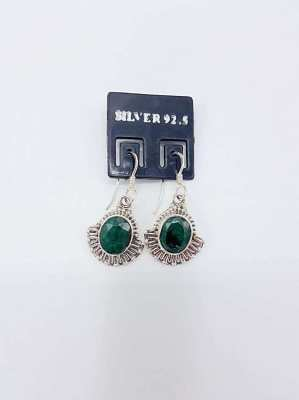 Earing with Natural Emeral and Silver 92.5