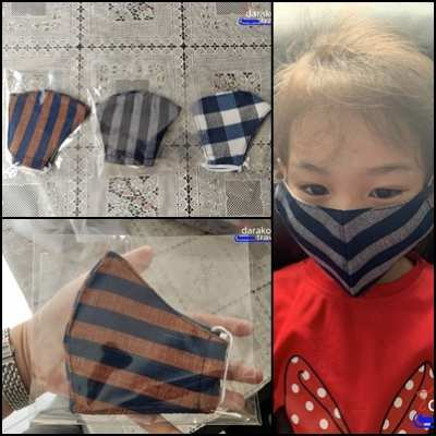 Selling Indigo cloth mask woven from pure cotton for children, beautiful pattern