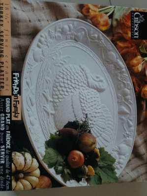 ราคาตก! PRICE DROP! Huge CERAMIC Wild Turkey Platter