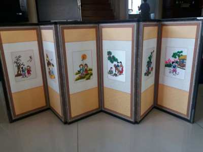Korean Traditional Folding Screen With Hand Weaving
