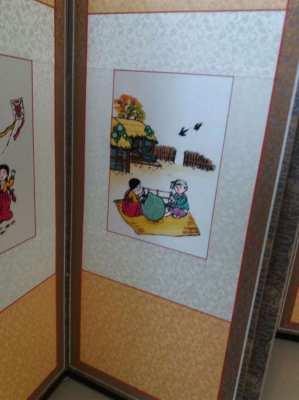 Price Drop!  Korean Traditional Folding Screen w Hand Weaving