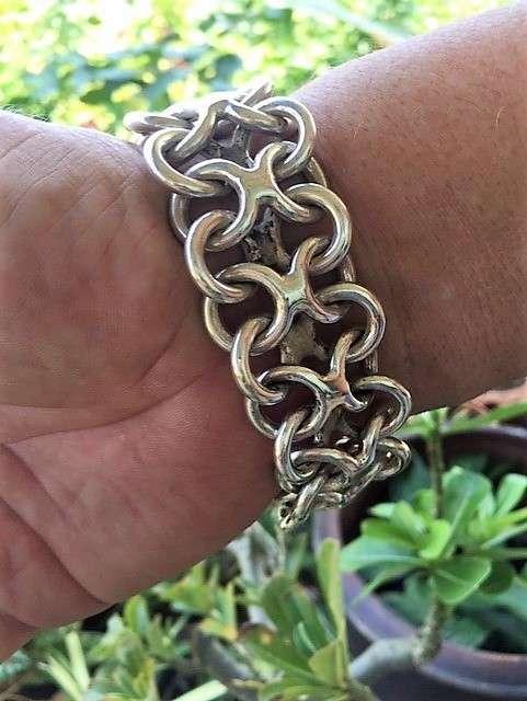 92.5 % Sterling Silver Beautiful Big Bracelet