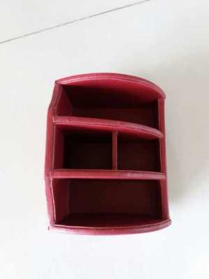 Red Italian Leather Desk Organizer