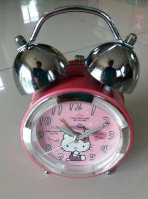 Pink color hello kitty 2 Bell Alarm Clock w Night Light